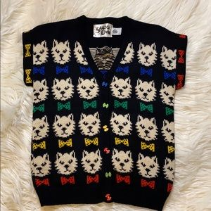 Sally's Own Vintage Cat design Knit Blouse